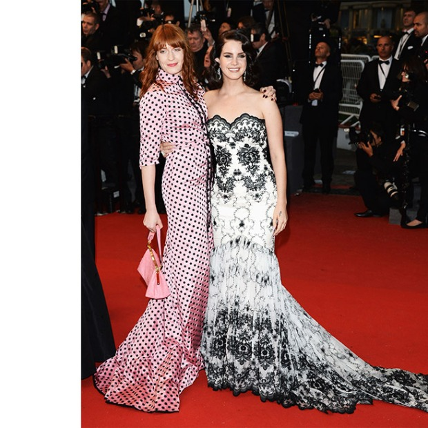 Florence Welch, in Miu Miu, and Lana Del Rey, in Lena Hoschek, with Chopard jewels.