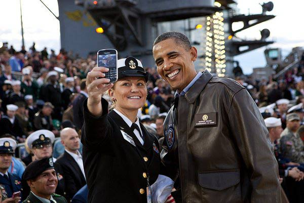 Obama Takes Selfie With Navy Officer