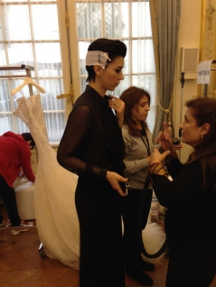 Charlotte Licha getting ready for the Fashion Show