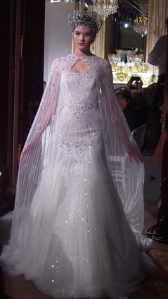 Illusion fully embroidered wedding dress in tulle with cape and crown
