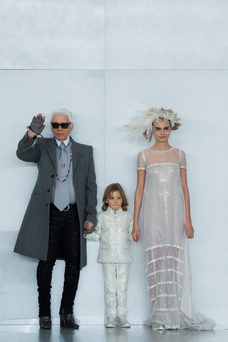 Karl Lagerfeld, Cara Delevigne, and her son