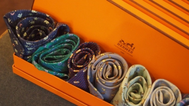 This box of stunning Hermes scarves caught our eyes.