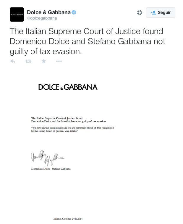 Dolce & Gabbana tweet