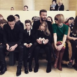 The Beckhams & Ana Wintour At Victoria Beckham Show