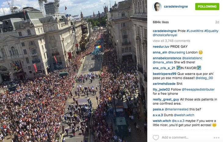 Cara Delevingne at the Pride parade in London