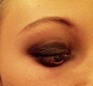 Dark brown eye shadow