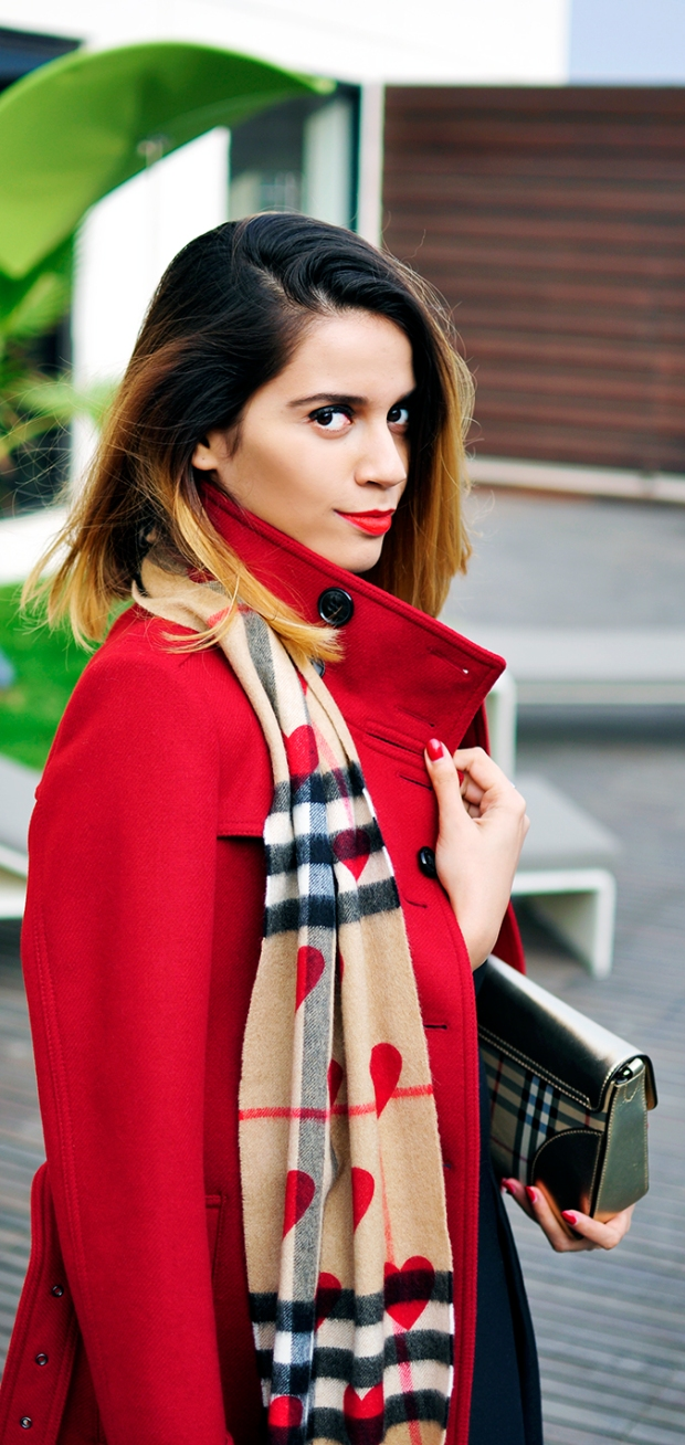 Akanksha in red wool coat from Burberry