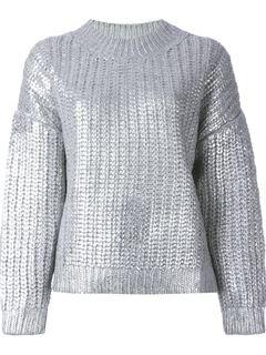 DKNY Metallic Ribbed Sweater