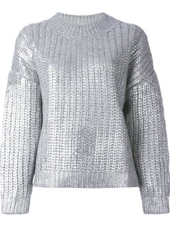 DKNY Metallic Ribbed Sweater