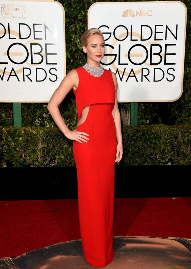 Jennifer Lawrence at the Golden Globe Awards in Dior Couture