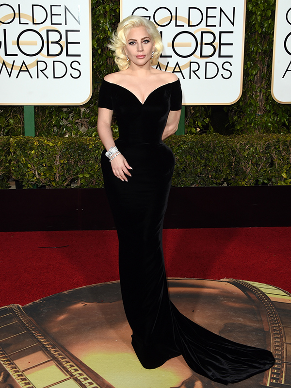 Versace worn by Lady Gaga at the Golden Globe Awards 2016