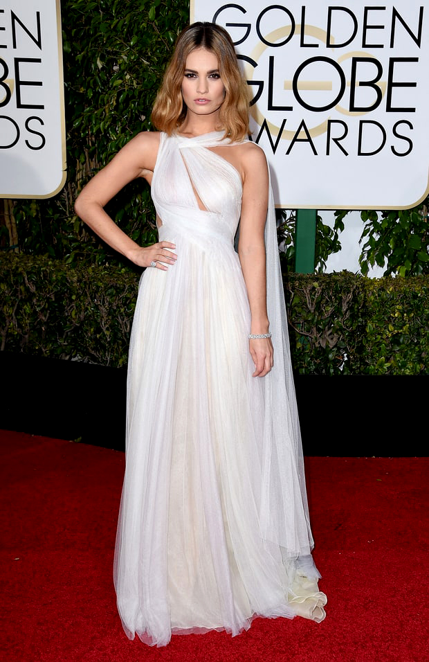 Marchesa worn by Lily James at the Golden Globe Awards 2016