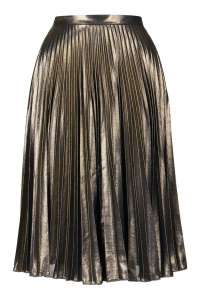 Topshop Gold Pleat Midi Skirt