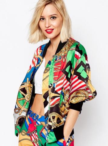 Love Moschino Achieve Print satin Jacket