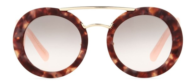 Prada Baroque Round Brow-Bar Sunglasses