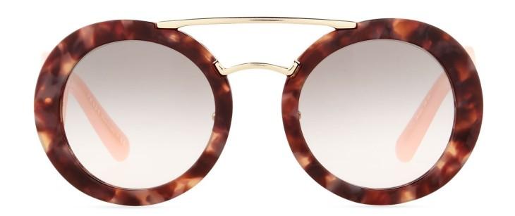 Prada Baroque Round Brow-Bar Sunglasses
