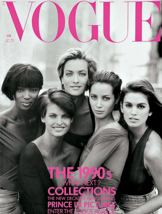 Super Models on the British Vogue cover in 1990 © Vogue