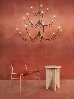 Faye Toogood's fiberglass lamps, Ana Kras's marble dining table