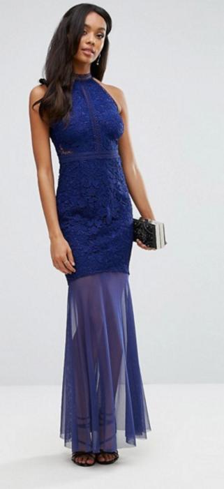 Lipsy Fishtail Maxi Dress With Crochet Lace Bodice