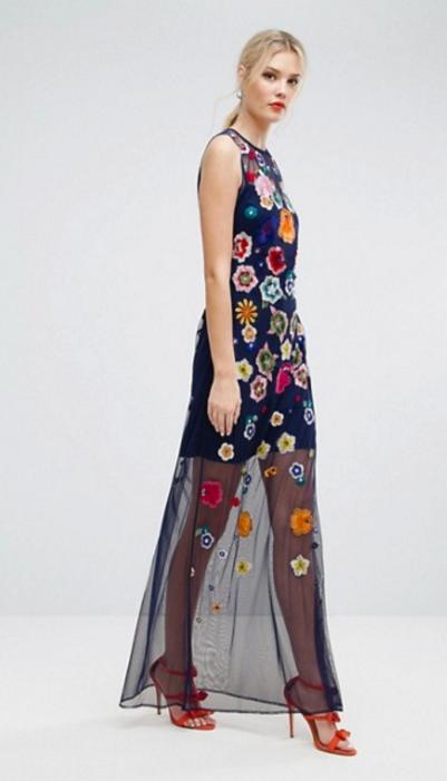 ASOS TALL Embroidered Mesh Illusion Maxi Dress