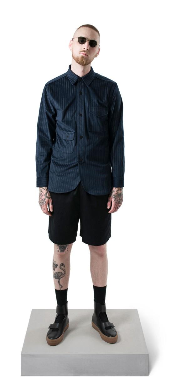 army-shirt-pinstripe-velour-navy Han 140Kjøbenhavn