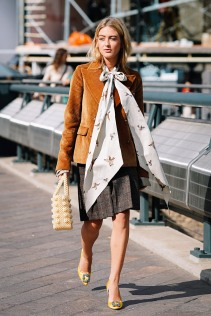 london-fashion-week-street-style-spring-2018-emili-sindlev-tan-corduroy-blazer-bow-blouse-plaid-skirt-yellow-heels-shrimps-bag