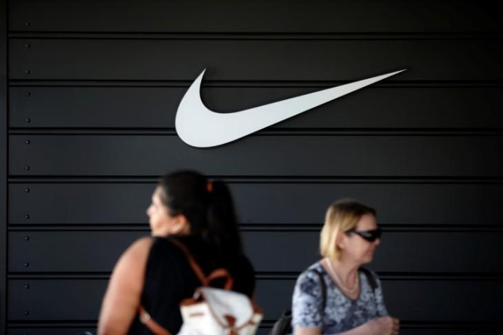 Dow Jones Industrial Average listed company Nike (NKE)'s logo is seen in Los Angeles